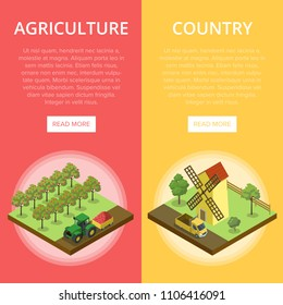 Natural farming isometric vertical flyers. Crop harvesting in orchard, windmill in rural landscape. Agricultural constructions and machinery, traditional agrobusiness, eco products vector illustration