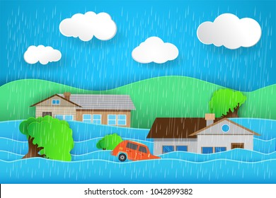 Natural flood Icon, rain and Storm