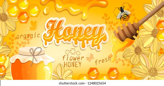 Natural floral honey banner with honeycombs, flowers, heather, bee and full glass jar. Flowing honey on colorful background. Template for brand, logo, advertise, label, packaging. Vector illustration.