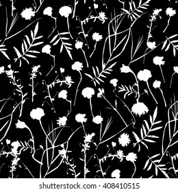 natural floral seamless pattern Graphic collection with leaves and flowers elements. Spring summer design for invitation, wedding or greeting cards. white silhouette, Black background. Vector