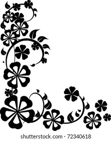 Natural  flowers modern ornament  frame peace with many dilates on the white background. Black and white.