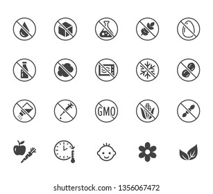 Natural food flat glyph icons set. Sugar, gluten free, no trans fats, salt, egg, nuts, vegan vector illustrations. Signs for packaging, expiration date. Solid silhouette pixel perfect 64x64.