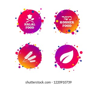 Natural food icons. Halal and Kosher signs. Gluten free. Chief hat with fork and spoon symbol. Gradient circle buttons with icons. Random dots design. Vector