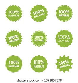 natural food logo icon set, organic eco labels