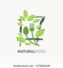 Natural food logo template. Organic,  Vegan, vegetarian icon