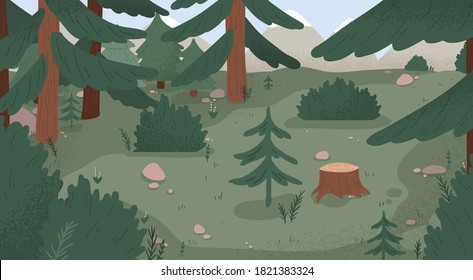 Natural forest landscape vector flat illustration. Wild woods scenery with spruces, stumps, bushes, trees and grass. Empty environment with plants and mountains. Wilderness area, woodland location