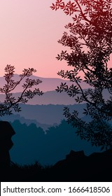 Natural forest mountains horizon hills silhouettes of trees. Evening Sunrise and sunset. Landscape wallpaper. Illustration vector style. Colorful view background.