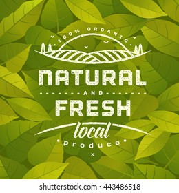 Natural and Fresh. Healthy eating quote on background with fresh green leaves. Natural, locally grown, organic food poster or banner. Vector illustration.