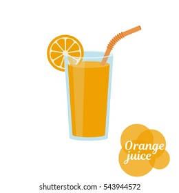 Natural  fresh orange juice in a glass. Orange slice, tube for drinking. Healthy organic food. Citrus fruit. Vector illustration flat design. Isolated on white background. Taking vitamins.