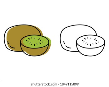 Natural fruits grown on a farm. eco products. vector kiwi icons in flat style