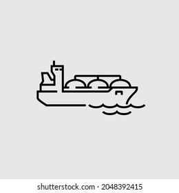 Natural Gas Carrier Ship Vector Line Icon