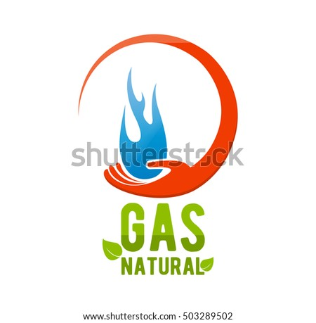 Natural Gas Company Logo Blue Fire Stock Vector Royalty Free