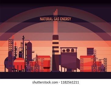 natural gas energy, combine cycle power plant, natural gas power plant in retro graphic