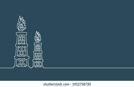 Natural gas and oil mining industry. Gas tower icon. Thin line style