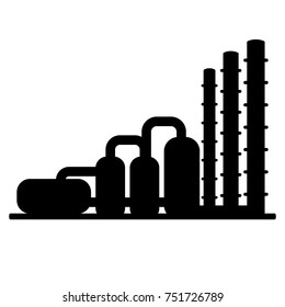 Natural gas processing plant. Black flat vector icon. Logo for oil and gas industry