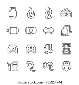 Natural gas vehicle and  liquefied petroleum gas vector line icon set.