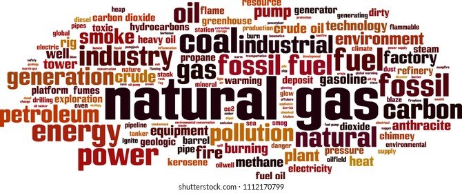 Natural gas word cloud concept. Vector illustration