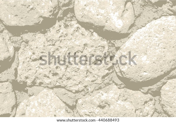 Natural geological round stone grunge backdrop background  texture pattern,  for vintage design. Realistic fence wall