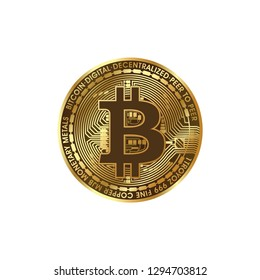 natural gold bitcoin on a white background vector