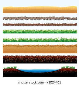 Natural Grass and Ground Seamless borders - set of vector cartoon illustrations of grass field, stone roadway, desert sands, cobblestone way - objects grouped