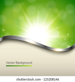 Natural green background with metallic wave, vector.