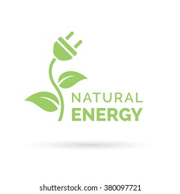 Natural green eco energy icon with electric plug, plant and leaf symbol. Vector illustration.