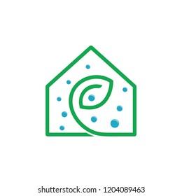 natural green leaf house symbol vector
