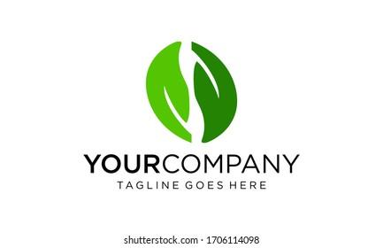 Natural green leaf logo design vector on white background
