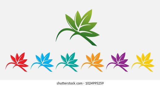 natural green leaf vector. beautiful colored leaves logo. leaf with red, green, blue, orange, yellow, purple color versions of green leaf vector