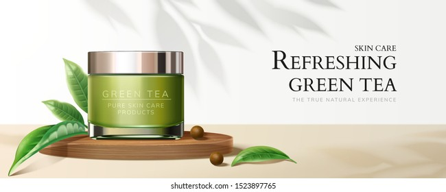 Natural green tea cream jar banner ads with leaves in 3d illustration
