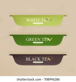 natural green tea and organic label  green color. vintage labels and badges design.