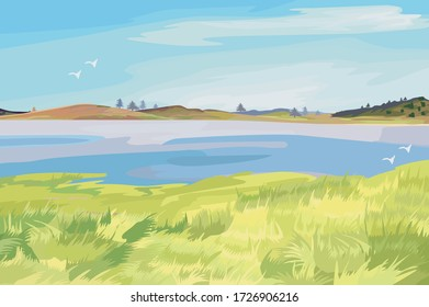 Natural green wide meadow view front of a beautiful lake