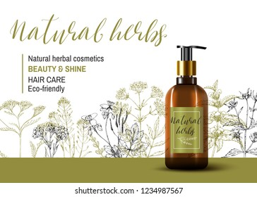 Natural herbal cosmetic. 3d realistic shampoo bottle. Hair care product. Wild healing plants. Vintage flowers. Hand drawing sketch vector background. Engraving. Botanical illustration. Pharmacy herbs