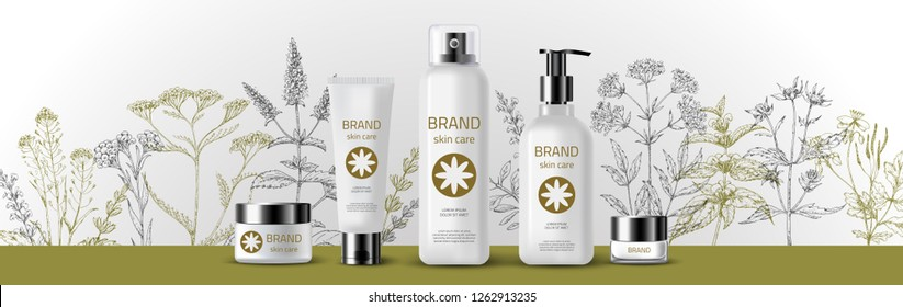 Natural herbal organic cosmetic. 3d realistic ads illustration: cream, tube, spray, bottle, herbs, flowers. Skin care mockup product. Vector medical background. Sketch hand drawn pharmacy plants.