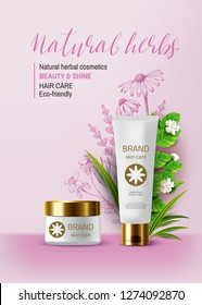 Natural herbal organic cosmetic. 3d realistic ads illustration: cream, tube, plants. Skin care product. Vector pink background. Vintage hand drawn pharmacy flowers.