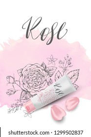 Natural herbal organic cosmetic. Roses and pink petals. 3d realistic ads illustration: cream, tube. Skin care mockup product. Vector elegant pink background. Sketch hand drawn flowers. Watercolor.