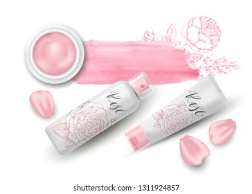 Natural herbal organic cosmetic. Roses and petals. 3d realistic ads illustration: cream, tube, spray. Skin care mockup product. Top view. Vector pink background. Sketch hand drawn flowers. Watercolor.
