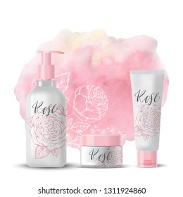 Natural herbal organic cosmetic. Roses. 3d realistic ads illustration: cream, tube, spray. Skin care mockup product. Top view. Vector pink background. Sketch hand drawn flowers. Watercolor.