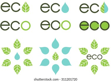 Natural hexagonal symmetrical icons logo with leaves and water drops and variations of eco lettering