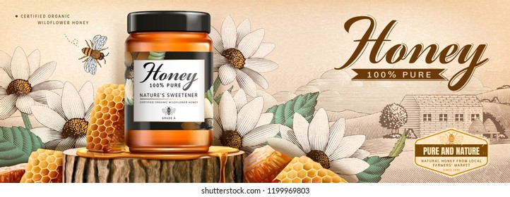 Natural honey product with beehive on tree trunk section platform in 3d illustration, white flower woodcut background