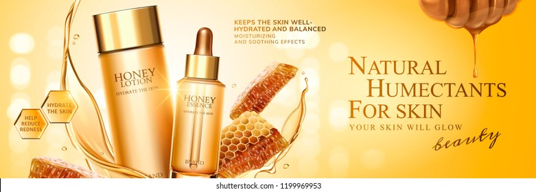Natural honey skin care banner ads with beehive and golden liquid on bokeh glittering background, 3d illustration