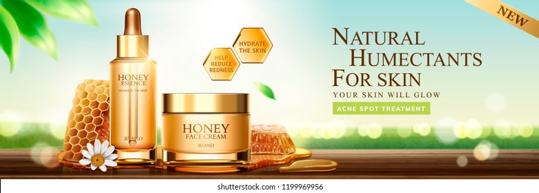Natural honey skin care banner ads with beehive and containers on nature bokeh background, 3d illustration