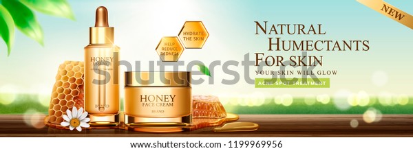 Natural Honey Skin Care Banner Ads Stock Vector Royalty Free 1199969956