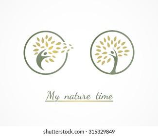 natural human,holistic tree logo design
