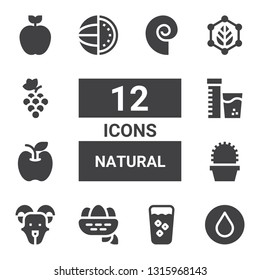 natural icon set. Collection of 12 filled natural icons included Water, Fresh, Nest, Goat, Cactus, Apple, Vitamins, Watermelon, Leaf, Grapes, Seashell