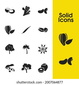 Natural icons set with chestnut, ginger and sunflower seeds elements. Set of natural icons and marron concept. Editable vector elements for logo app UI design.