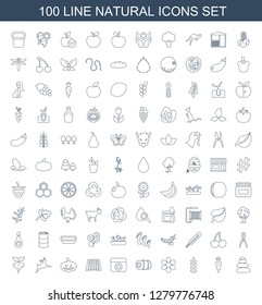 natural icons. Trendy 100 natural icons. Contain icons such as spa stones, carrot, plant, flower, hay, field, pumpkin haloween, deer, beet, garden tools. natural icon for web and mobile.