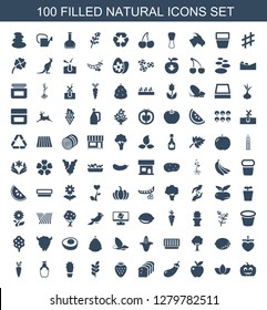 natural icons. Trendy 100 natural icons. Contain icons such as pumpkin haloween, lotus, apple, eggplant, bread, strawberry, wheat, cactus, bottle. natural icon for web and mobile.