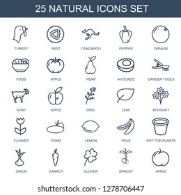 natural icons. Trendy 25 natural icons. Contain icons such as turkey, nest, cangaroo, pepper, orange, food, apple, pear, avocado, garden tools. natural icon for web and mobile.
