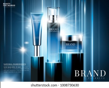 Natural ingredient cosmetic ads, blue package design on blue background with glowing and ray light effect in 3d illustration